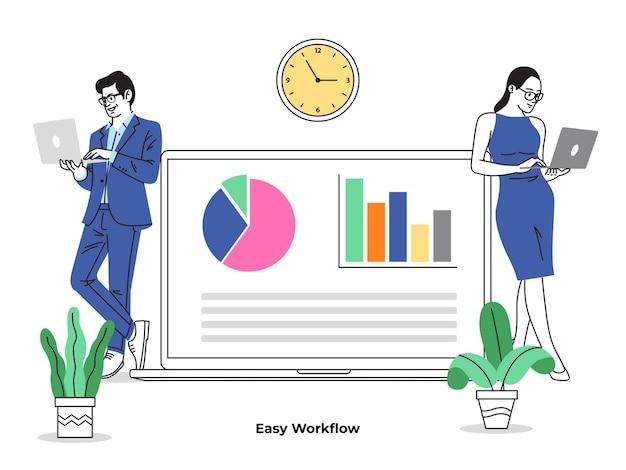 Illustration de collaboration de travail en ligne 1