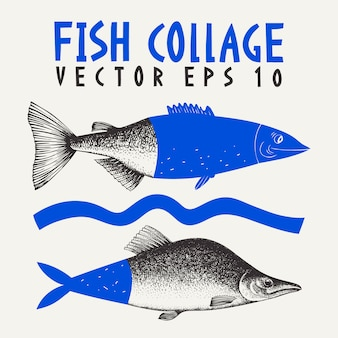 Illustration de collage de poisson de saumon rose dessiné à la main
