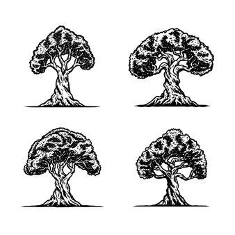 Illustration de collection d'arbres, illustration dessinée à la main