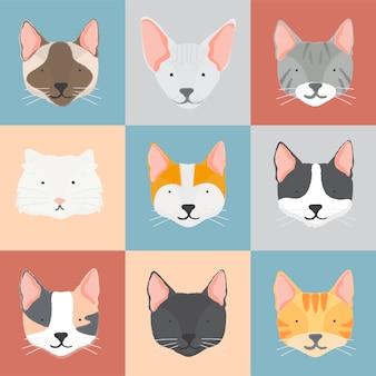 Illustration de la collection de chats