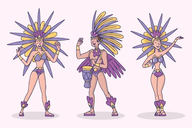 Illustration de collection de danseur de carnaval brésilien