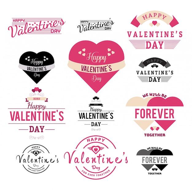 Illustration de la collection d'étiquettes et de rubans de la saint-valentin