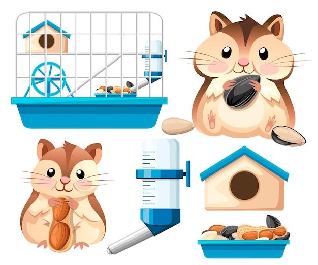 Illustration de collection d'icônes de hamster