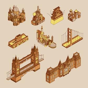 Illustration de la collection mondiale de sites touristiques bien connus