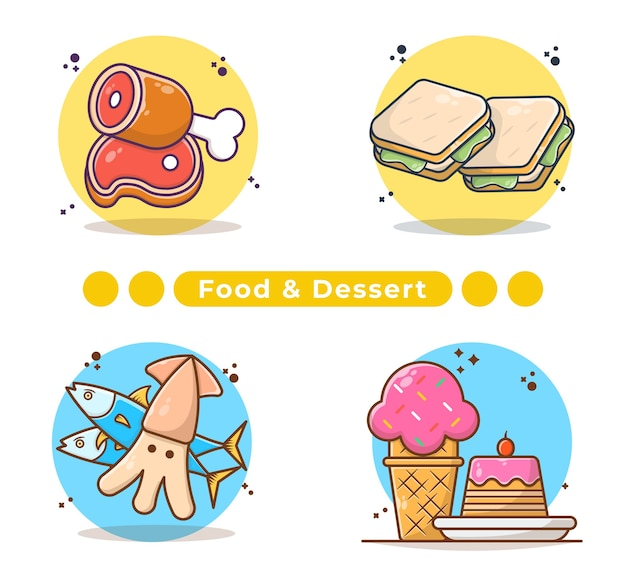Illustration de la collection de nourriture et de desserts à la main
