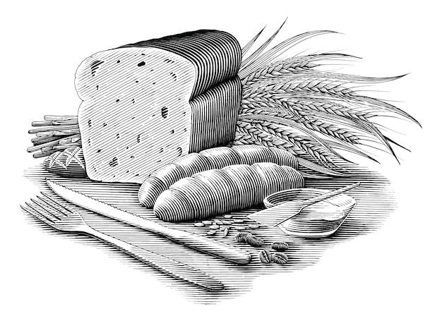 Illustration de collection de pain style de gravure vintage clipart noir et blanc isolé
