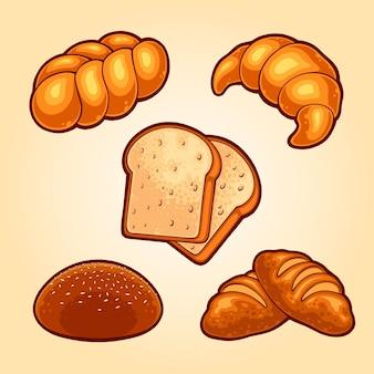 Illustration de la collection de pains délicieux