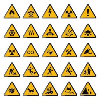 Illustration De Collection De Panneaux D'avertissement Jaune Vecteur Premium