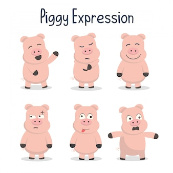 Illustration de collection piggy expression