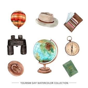 Illustration de collection de tourisme aquarelle isolé