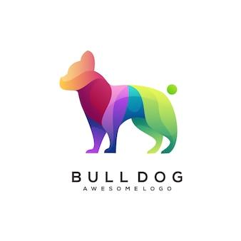 Illustration colorée abstraite de dégradé de logo de bouledogue