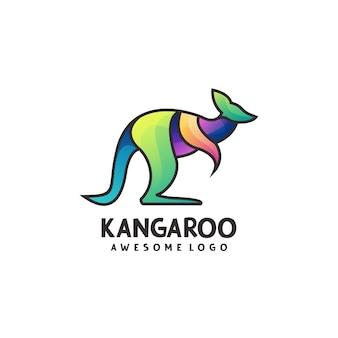 Illustration colorée abstraite de dégradé de logo de kangourou