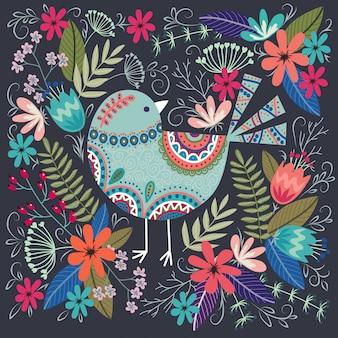 Illustration colorée avec bel oiseau et fleurs.
