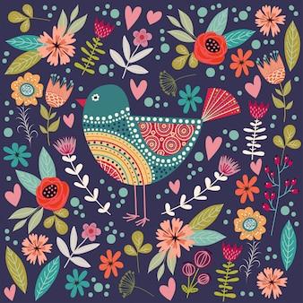 Illustration colorée avec bel oiseau folk abstrait et fleurs.