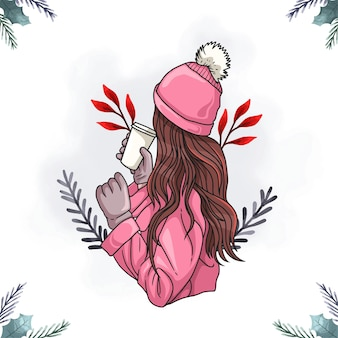 Illustration colorée d'une belle femme buvant du café