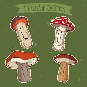 Illustration colorée de champignons forestiers joyeux