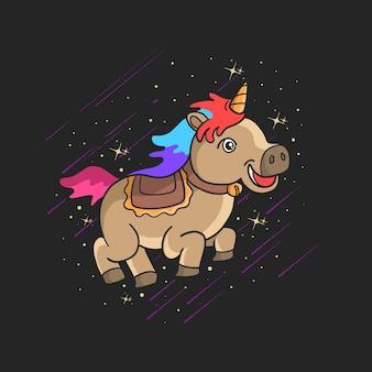 Illustration colorée de cheval licorne mignon