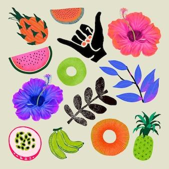 Illustration colorée de conception tropicale
