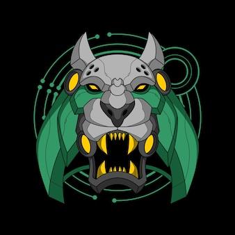 Illustration colorée de cyber samouraï tigre