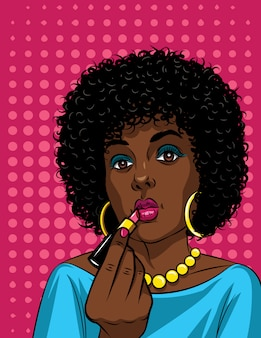 Illustration colorée dans un style pop art de la belle femme afro-américaine maquillant. mode, femme, tenue, rouge lèvres, main