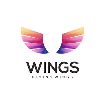 Illustration colorée de dégradé de logo d'ailes
