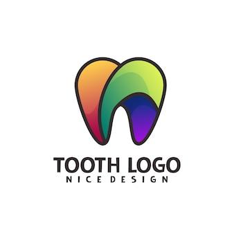 Illustration colorée de dégradé de logo d'art de ligne de dent