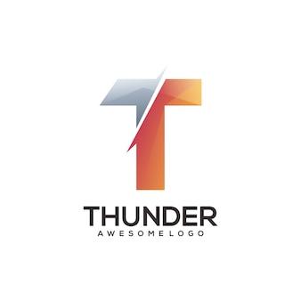 Illustration colorée de dégradé de logo de lettre t