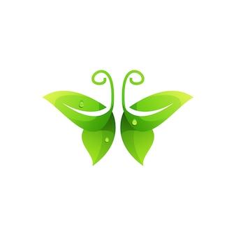 Illustration colorée de dégradé de logo de papillon