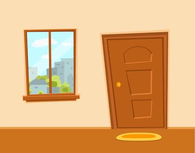Illustration colorée de dessin animé de fenêtre et de porte avec le paysage urbain de bâtiments d'architecture de ville avec des arbres