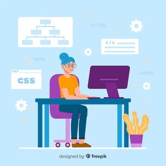 Illustration colorée du programmeur féminin travaillant