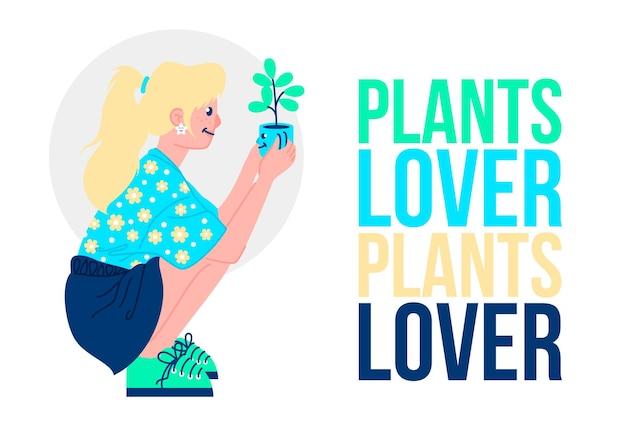 Illustration colorée d'une fille blonde amoureuse des plantes