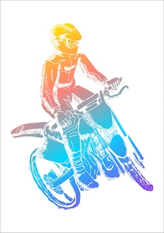 Illustration colorée d'un homme à cheval motocross