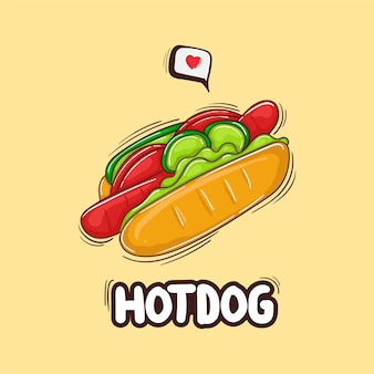 Illustration colorée de hot-dog dessiné à la main