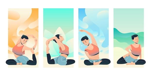Illustration colorée de jeune femme faisant des poses de yoga