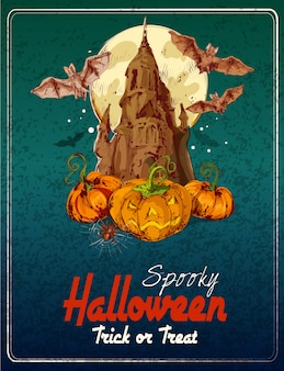 Illustration colorée de joyeux halloween. des bonbons ou un sort