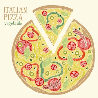 Illustration colorée de pizza italienne pepperoni. illustration de nourriture vecteur dessiné à la main.