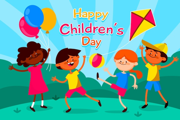 Illustration colorée pour la journée des enfants