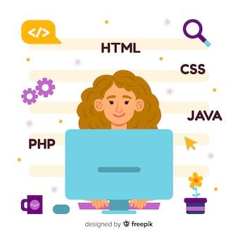 Illustration colorée d'une programmeuse faisant son travail