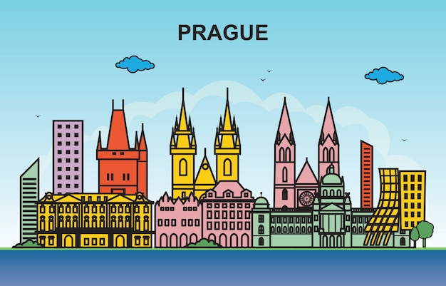 Illustration colorée de skyline de paysage urbain de prague