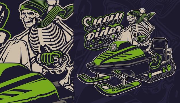 Illustration colorée d'un squelette sur la motoneige sur fond sombre.