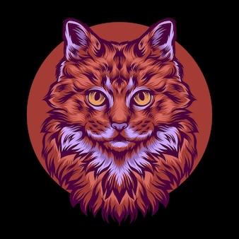 Illustration colorée de tête de chat
