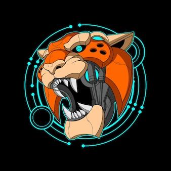 Illustration colorée de tête de tigre cyber