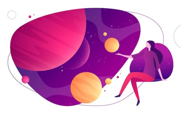 Illustration colorée sur le thème de l'espace