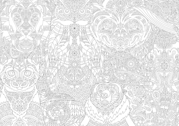 Illustration de coloriage animal adulte