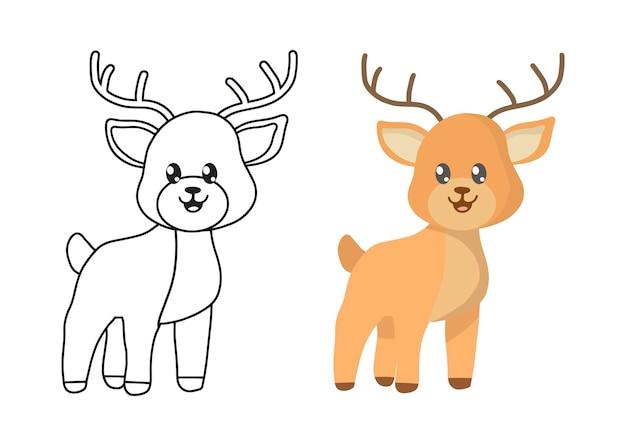 Illustration à colorier pour enfants avec des cerfs