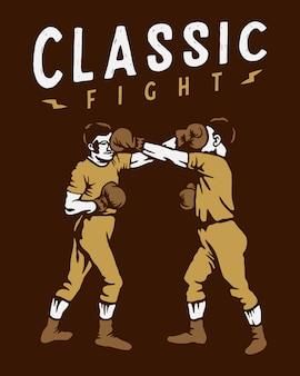 Illustration de combat de boxe vintage