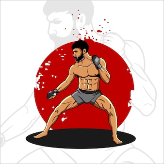 Illustration de combattant mma