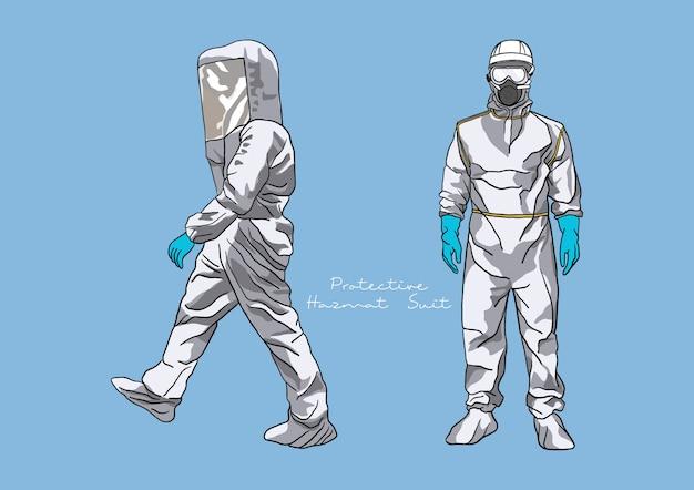 Illustration de la combinaison de protection hazmat