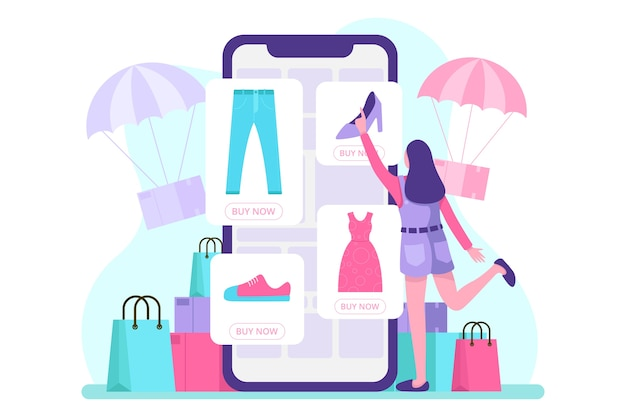 Illustration de commerce électronique mobile. .