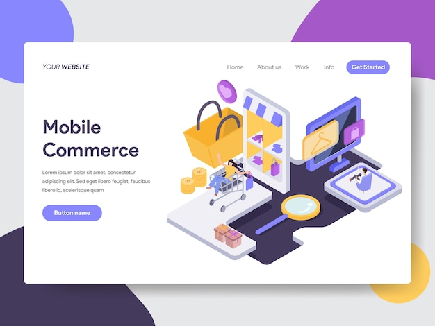 Illustration de commerce mobile